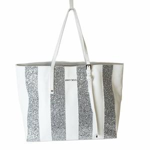 Jimmy Choo JIMMY CHOO Sasha Tote Bag White x Sequined Ladies