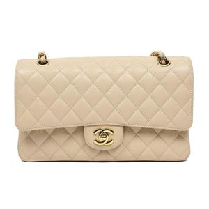 Chanel CHANEL Matrasse W Flap Chain Shoulder Bag A01112 Caviar Skin Beige Gold Hardware Women's