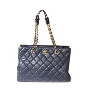 Chanel CHANEL Matrasse Chain Tote Bag Lambskin Navy × Bordeaux