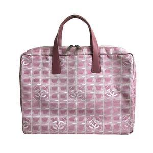 Chanel CHANE L New Travel Line Briefcase A15974 Pink Silver Hardware Nylon Jacquard Men's