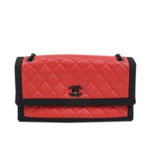Chanel CHANEL Matrasse chain shoulder bag lambskin caviar skin red / black