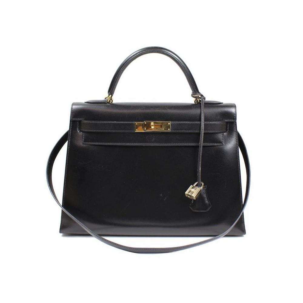 HERMES Kelly 32 Box Calf Black Gold Hardware V Instruction Handbag Women s 10105733c