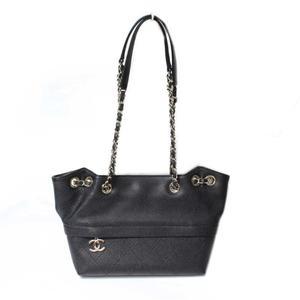 Chanel CHANEL Drawstring chain shoulder bag Caviar skin Black Silver hardware