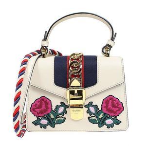 Gucci GUCCI Sylvie Embroidery 2 WAY Mini Bag 470270 Off White Shoulder Women's