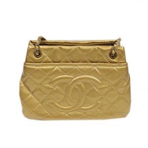 Chanel CHANEL Matrasse Coco Mark Chain Shoulder Caviar Skin Gold