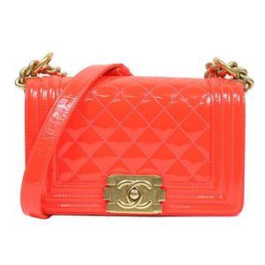 Chanel CHANEL Boy Small Chain Shoulder Bag A 67085 Enamel Orange Women's