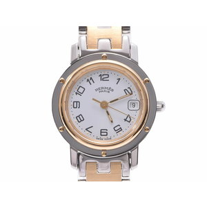 HERMES CLIPPER white dial CL 4.220 Women's SS / GP New buckle quartz wristwatch A rank 美 品 second hand silver storage