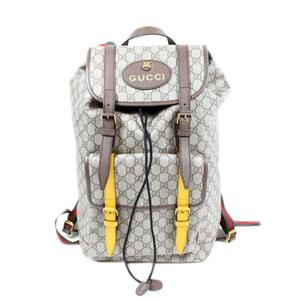 Gucci GUCCI GG Supreme Backpack Tiger 473869 Brown × Yellow Gold Hardware