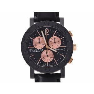 ブルガリ ブルガリブルガリ 黒文字盤 BB38CLCH メンズ カーボン 革 クオーツ 腕時計 ABランク BVLGARI 箱 ギャラ 中古 銀蔵