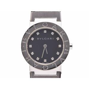 ブルガリ ブルガリブルガリ26 黒文字盤 BB26SS レディース 12Pダイヤ SS クオーツ 腕時計 Aランク 美品 BVLGARI 中古 銀蔵