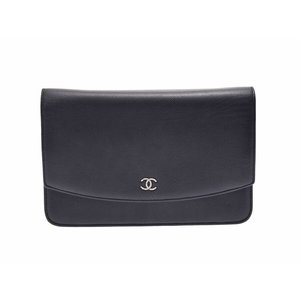 Chanel chain wallet black SV metal fittings ladies caviar skin AB rank CHANEL second hand silver storage