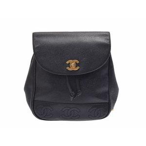 Chanel Backpack Triple Coco Mark Black G Hardware Women's Caviar Skin B Rank CHANEL Used Ginza