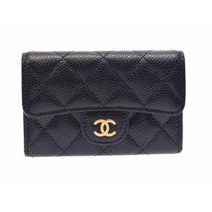 シャネル(Chanel) シャネル マトラッセ カードケース 黒 G金具 レディース キャビアスキン 新同 美品 CHANEL 箱 ギャラ 中古 銀蔵