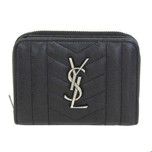 Real SAINT LAURENT Saint Laurent Paris Leather Round Zipper Bi-fold Wallet YSL Logo Black Purse