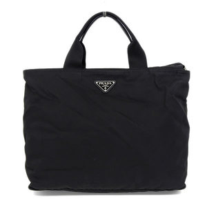 Genuine PRADA Prada Nylon 2 WAY Tote Bag Shoulder Black Silver Hardware Leather