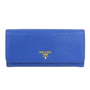 Genuine PRADA Prada Leather Folded Long Purse with Pass Case Cobalt Blue 1 MH132