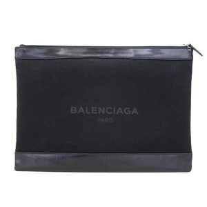 Real BALENCIAGA Balenciaga Clutch Bag Flat Canvas Leather Black 373840