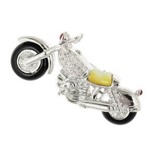 Authentic K18WG Diamond 0.21ct Bike Brooch