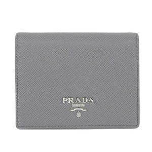 Authentic PRADA Prada Safiano Bi-fold Wallet Gray Leather