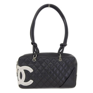 Genuine CHANEL Chanel Cambon Bowling Bag Shoulder Leather Black 9 Series