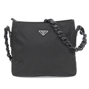 Genuine PRADA Prada Plastic chain one shoulder bag black leather