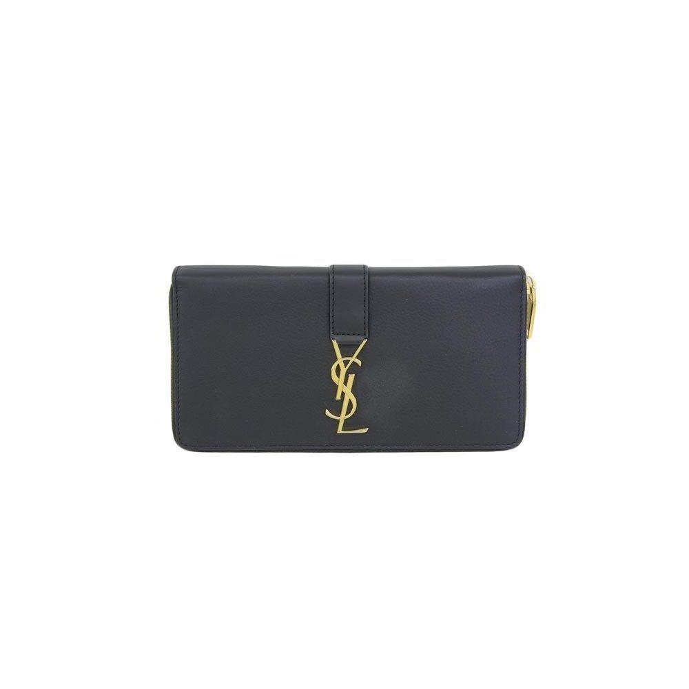 49fb6a3ce0e8 Real SAINT LAURENT Saint Laurent Paris Leather Round Zipper Long Purse YSL  Logo Black