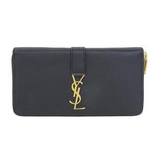 Real SAINT LAURENT Saint Laurent Paris Leather Round Zipper Long Purse YSL Logo Black