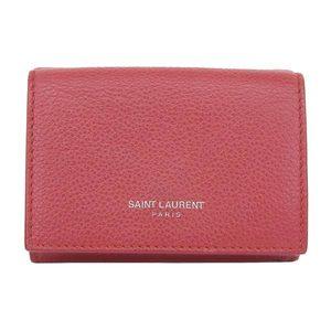 Real SAINT LAURENT Saint Laurent Paris Leather Mini Caif Red Wallet