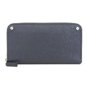 Real BALENCIAGA Balenciaga Leather Round Zipper Long Purse Gray Wallet