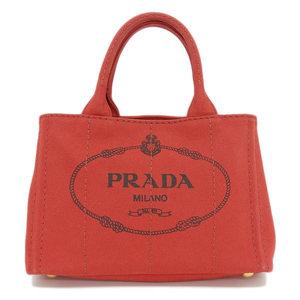 Genuine PRADA Prada Kanapa Canvas 2 WAY Tote Bag Shoulder Red B 2439 G Leather