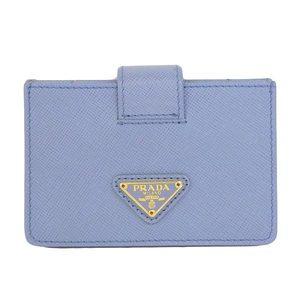 Genuine PRADA Prada Card Case Saffiano Aqua Blue
