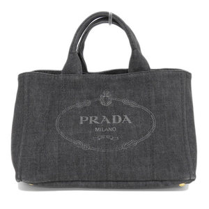 Genuine PRADA Prada Denim Canvas Kanapa 2 Way Tote Bag Shoulder Black Leather