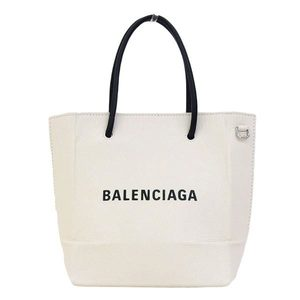 Real BALENCIAGA Balenciaga Leather Shopping Tote XXS 2 WAY Handbag White 528655 Bag