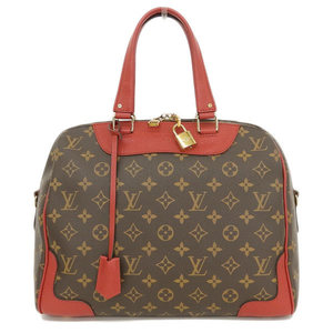 4b50e726362 Authentic Louis Vuitton Monogram Retiro 2way Handbag Red Sleeves M40546 Bag  Leather