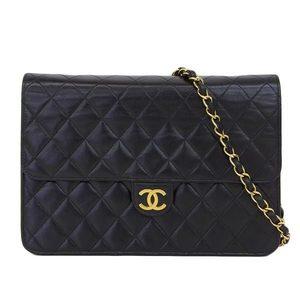 Genuine CHANEL Chanel Push Lock Matrasse Shoulder Bag 5th Leather