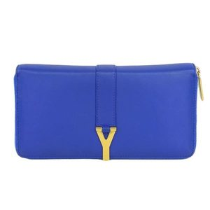 Real SAINT LAURENT Saint Laurent Paris Leather Round Zipper Long Purse Blue Wallet