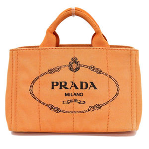 Genuine PRADA Prada Kanapa Canvas Tote Bag Orange Leather