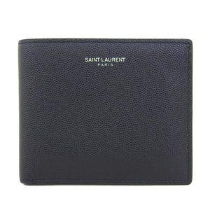 Real SAINT LAURENT Saint Laurent Paris Leather Bi-fold Wallet Black Purse