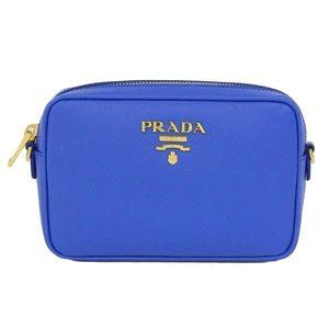 Genuine PRADA Prada Shoulder Bag Pochette 2 WAY Pouch Saffiano Leather Blue 1 BH 036