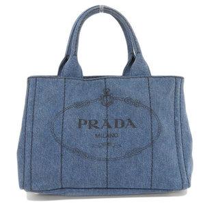 Genuine PRADA Prada Kanapa Denim Canvas 2 WAY Tote Bag Shoulder Blue 1 BG 439 Leather