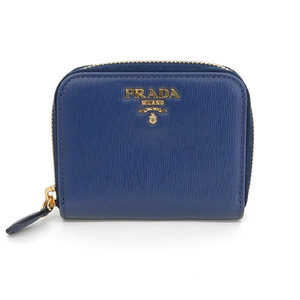 Authentic PRADA Prada Saferian Leather Round Zipper Coin Case Purple Blue