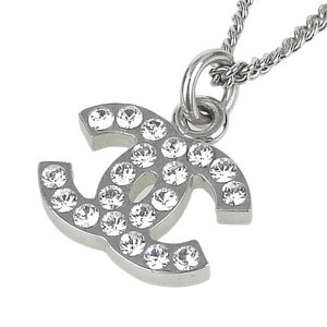 Genuine CHANEL Chanel Coco Mark Rhinestone Necklace Silver 06V