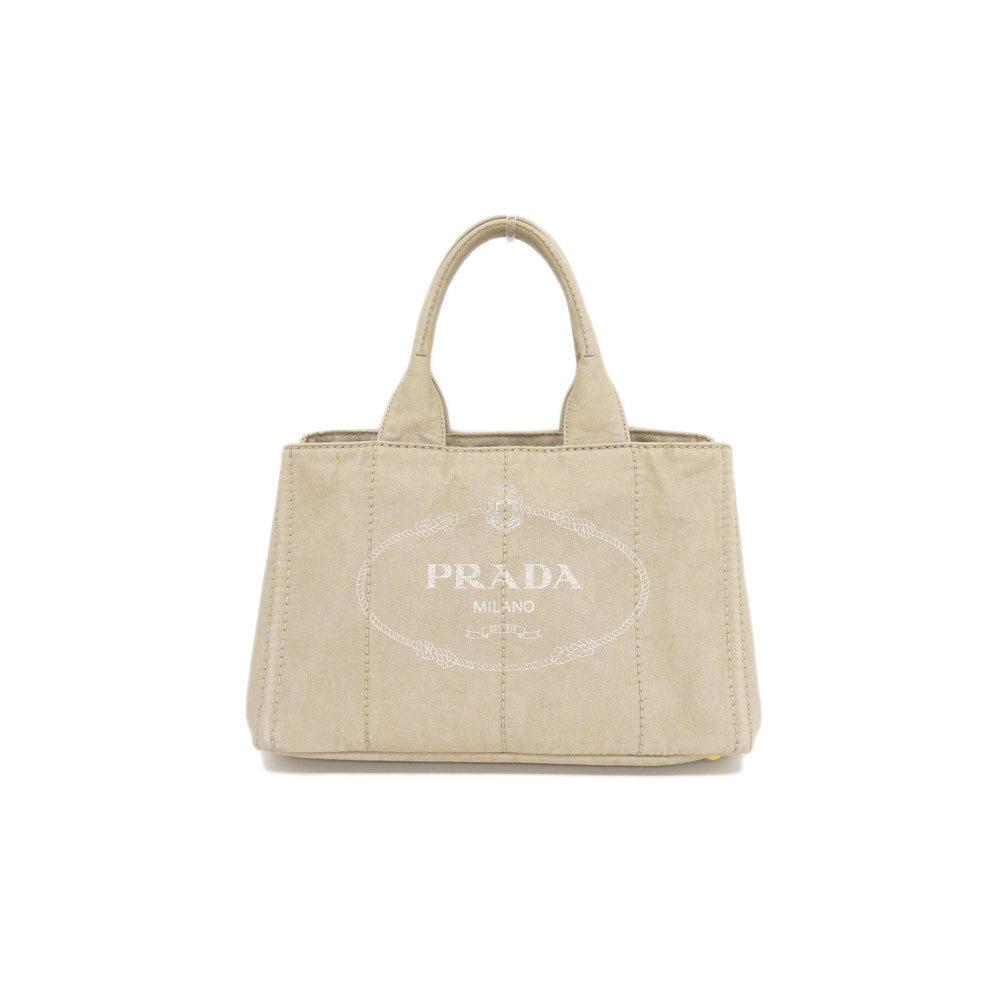 Genuine PRADA Prada Canvas Kanapa Tote Bag Beige Leather