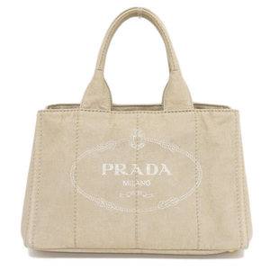 Genuine PRADA Prada Canvas Kanapa Tote Bag Beige Leather