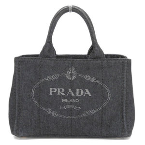 Genuine PRADA Prada Kanapa Denim 2 WAY Tote Bag Shoulder Black NERO 1 BG 439 Leather