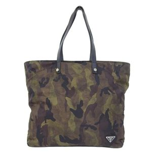 Genuine PRADA Prada Nylon Tote Bag Camouflage Pattern Leather