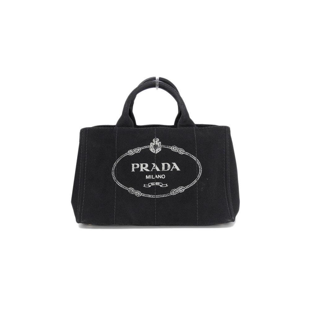 Genuine PRADA Prada Kanapa Canvas 2 WAY Tote Bag Shoulder Black 1 BG 642 Leather