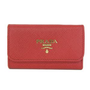 Authentic PRADA Prada Safiano Leather 6 Sequential Key Case Red Gold Hardware