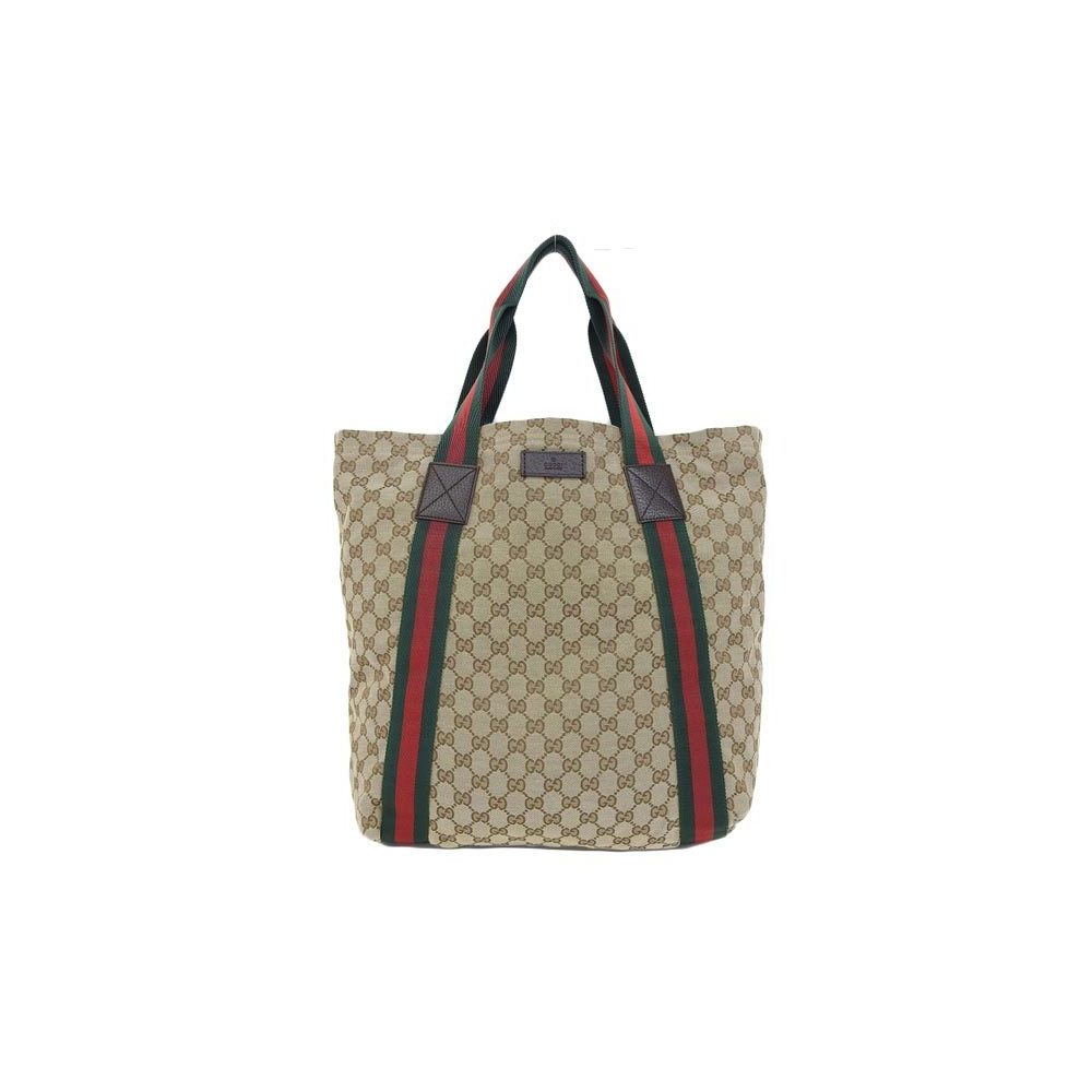 708162d68fdc Genuine GUCCI Gucci GG canvas tote bag Sherry line leather