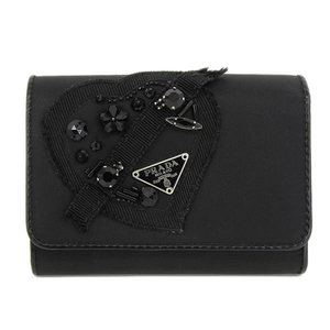 Authentic PRADA Prada EVENING HEART Nylon Tri-Fold Wallet Heart Motif Black Purse Leather